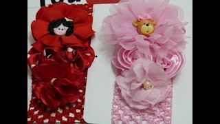 Balaca para bebe, video 585, flores de tela o cinta faciles para accesorios del cabello