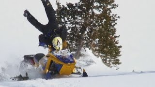 Skidoo Snowmobile crash track RIPS in HALF while climbing hill. GOTTA SEE THIS WRECK & ROLLOVER