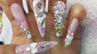 getlinkyoutube.com-Princess nails / Uñas acrílicas de princesa / luliz nails / tracy nails