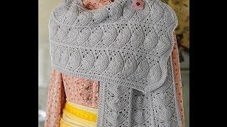 getlinkyoutube.com-Ажурный шарф из японского журнала  Keito dama. Часть 1