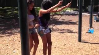 Girl Performs Fantastic Thong Swing Prank