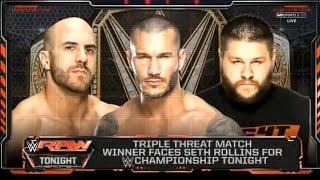 getlinkyoutube.com-Triple Threat Match; Antonio Cesaro Vs Kevin Owens VS Randy Orton, Raw 11 08 2015 world everything c