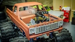 getlinkyoutube.com-Scale Blown Motor Install on the RC4wd K5 Blazer Tamiya Juggernaut Monster Truck
