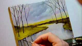 "getlinkyoutube.com-Landscape Painting - ""A Calm River"" Painting Demo Lesson"