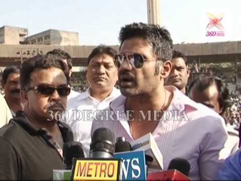 Sunil Shetty at the International Wrestling Competition in Mumbai, took up body building