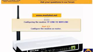 getlinkyoutube.com-Modem TP-LINK TD-W8951ND configuration, as a Bridge , a router, wifi  and  ports.