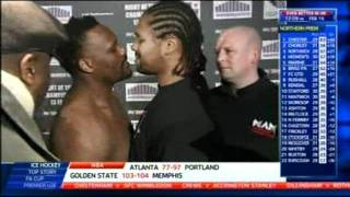getlinkyoutube.com-Dereck Chisora kisses Carl Baker during a staredown