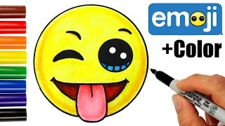 getlinkyoutube.com-How to Draw + Color Emoji w/Winking Eye, Tongue Out Face step by step EASY