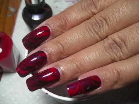 Red & Purple Water Marble Nail Art Tutorial