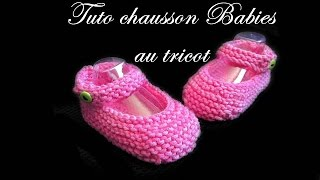 getlinkyoutube.com-TUTO TRICOT CHAUSSON BEBE BALLERINE BABIES AU TRICOT FACILE
