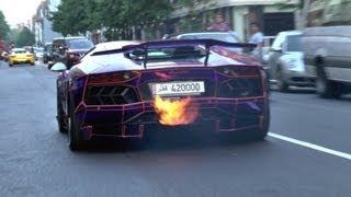 getlinkyoutube.com-2 LOUD Lamborghini Aventadors SPITTING FLAMES In London!!
