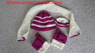 getlinkyoutube.com-Crochet Easy Beginner Winter Striped Beanie Hat, flip mittens, and scarf Set DIY Tutorial