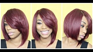 getlinkyoutube.com-Red Razor Cut Quick Weave Bob Tutorial - ChimereNicole