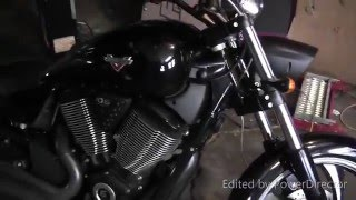 getlinkyoutube.com-2014 Victory Vegas 8-ball stock exhaust vs Freedom Performance