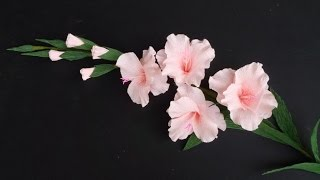 getlinkyoutube.com-How To Make Gladiolus Flower From Crepe Paper - Craft Tutorial