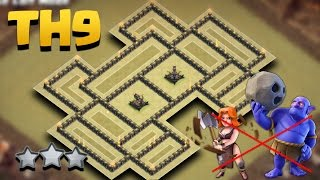getlinkyoutube.com-Town Hall 9 Weird War Base Anti 3 Star (TH9 Best War Base AnTi Air/Valkyries/Bowlers Combo)