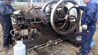 getlinkyoutube.com-Old Engines in Japan 1890s? National Gas Engine 13hp