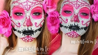 getlinkyoutube.com-Sugar Skull Makeup Tutorial (800 RHINESTONES! ORIGINAL MADEULOOK!)