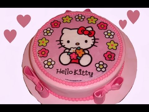 Cómo hacer una tarta de fondant con una oblea de Hello Kitty. How to make a kitty cake