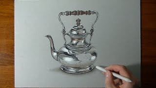 getlinkyoutube.com-Drawing a crazy realistic SILVER teapot