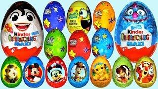 getlinkyoutube.com-50 Surprise eggs Kinder Surprise Cars Donald Duck Mickey Mouse