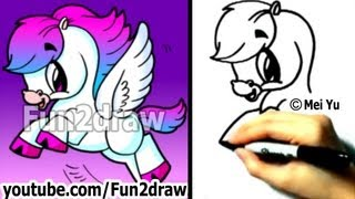 getlinkyoutube.com-How to Draw Fantasy Animals - Pegasus - Cute Art - Drawing Tutorials - Fun2draw