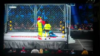 getlinkyoutube.com-WWE 12: Spongebob Vs. Homer Simpson Vs. Mario Vs. Ronald McDonald - Steel Cage Match