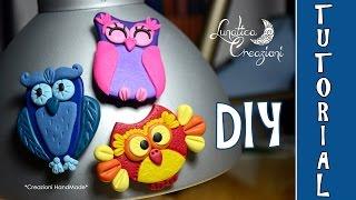 getlinkyoutube.com-Polymer Clay Tutorial: Calamite con Gufi in pasta polimerica | How to make Owl Magnets