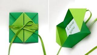getlinkyoutube.com-Pop-up diamond envelope. Gift for Easter. Origami . Объемная открытка и коробочка - оригами