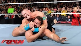 getlinkyoutube.com-John Cena displays reckless abandon to get his rematch with Rusev: Raw, March 9, 2015