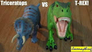 getlinkyoutube.com-Dinosaur Toys: R/C T-Rex VS Triceratops Dinosaurs Unboxing & Playtime 2 of 2