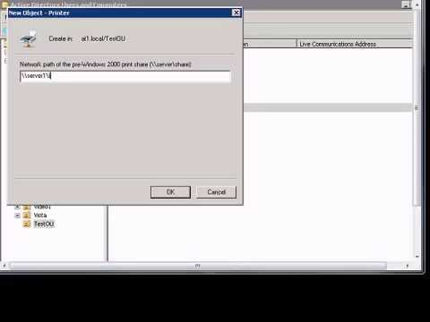 Add printer in Windows 2008 Active Directory users and computers.wmv