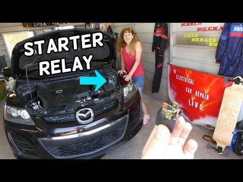 ENGINE STARTER RELAY LOCATION REPLACEMENT MAZDA CX-7 CX7. CAR NOT STARTING