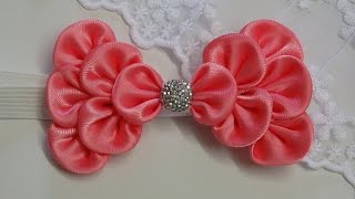 getlinkyoutube.com-How to make kanzashi hair bow,Diy ribbon bow,baby headband tutorial