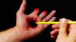 getlinkyoutube.com-Halloween Makeup Tutorial - Hole in Hand illusion SFX