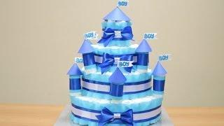 getlinkyoutube.com-Замок из памперсов своими руками (торт из памперсов)