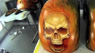 getlinkyoutube.com-Skulls of Fire - How to airbrush skulls and fire