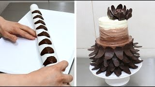 getlinkyoutube.com-Easy Chocolate Decoration Cake How To Make Chocolate Petals by CakesStepbyStep