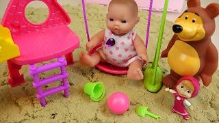 getlinkyoutube.com-Baby Doll sand toys Marsha and Bear slide