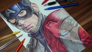 getlinkyoutube.com-Captain America/Iron Man Pen Drawing - Captain American: Civil War - DeMoose Art