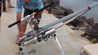Genio 2, cannone spara l'esca a 300 m per pescare spigole orate polipi ecc  Sand baster baite caster