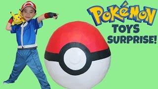 getlinkyoutube.com-Pokemon Giant Toys Surprise Egg Opening Unboxing Fun With Ash Ketchum Pikachu Ckn Toys