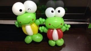 getlinkyoutube.com-造型氣球 大眼蛙 kerobi 可洛比 折氣球 Kerobi frog balloon