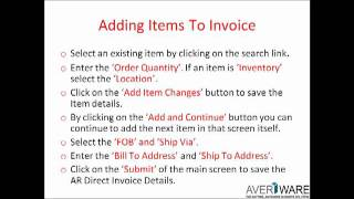 Averiware Accounts Receivable Direct Invoice