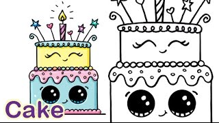 getlinkyoutube.com-How to Draw a Cartoon Birthday Celebration Cake Cute and Easy