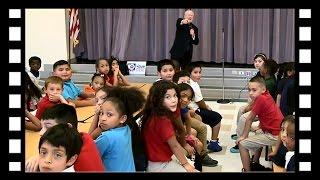 Master Weatherman, Rusty Garrett, presents Project Tornado to West Avenue Elementary
