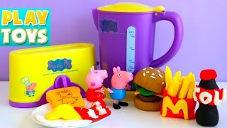 getlinkyoutube.com-Cooking toys Peppa Pig breakfast play doh vs burger toy kitchen play set