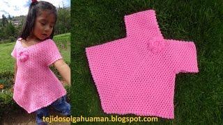 getlinkyoutube.com-Blusa fácil de hacer  tejida a crochet o ganchillo - TEJIDOS OLGA HUAMAN