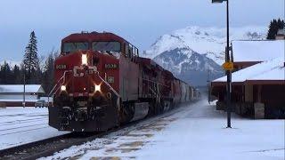 getlinkyoutube.com-Canadian Pacific 4 Trains @ BANFF AB CANADA!!!