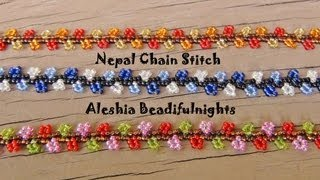 getlinkyoutube.com-Nepal Chain Stitch Beaded Bracelet and Anklet Tutorial